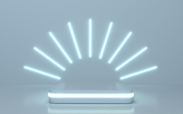 輝く線の背景を持つソフトブルー表彰台