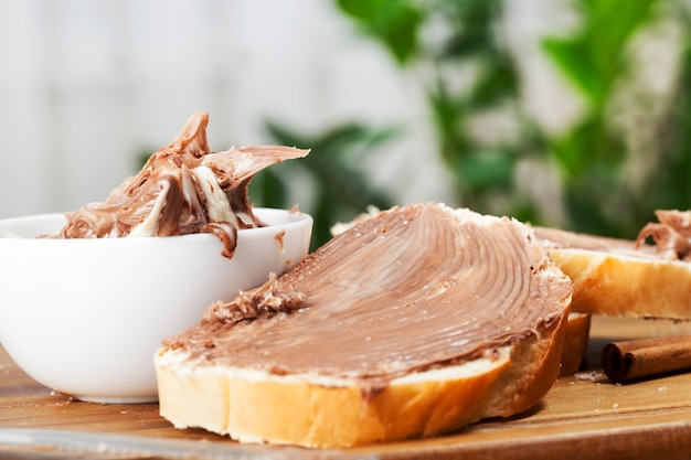 Soft chocolate butter and white bread