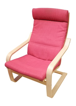Soft comfortable chair, upholstered in red material, isolated on a white background