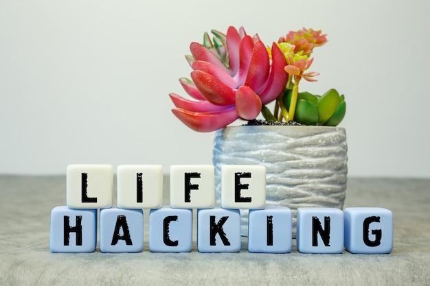 Мягкие кубики с аббревиатурой life hack с цветком на белом фоне