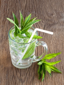 Soft drink with mint and ice