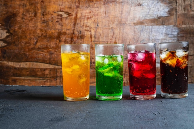 Soft drinks in the glass on the table