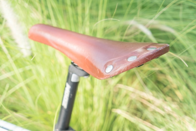 Soft focus on bicycle seat
