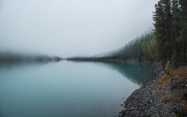 ソフトフォーカス。湖の上に濃い霧のある神秘的な朝の秋の風景。光沢のある穏やかな水の中の針葉樹の反射。早朝の高山の静かな風景。幽霊のような雰囲気の風景。