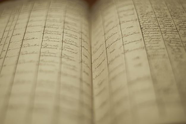 주민의 이름과 정보 목록이있는 오래된 지역 기록 책의 소프트 포커스