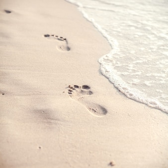 Soft focus and tone of footprints on the tropical beach .