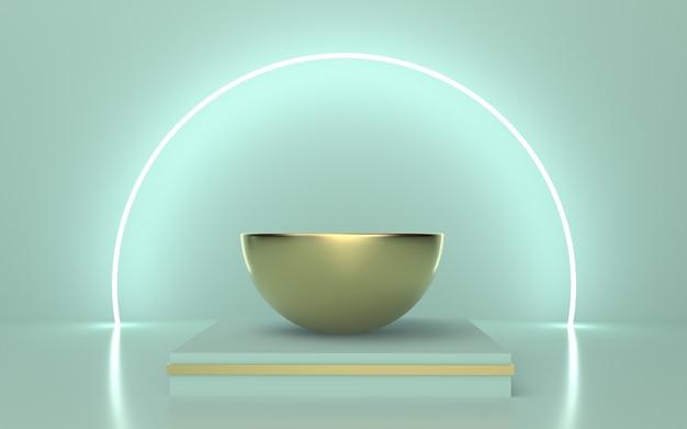 輝くラインサークルの背景を持つソフトグリーンゴールド表彰台