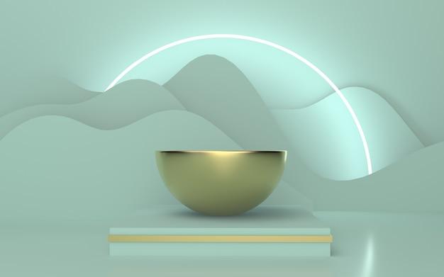 輝く線の円の波状の背景を持つソフトグリーンゴールド表彰台