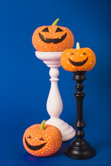 Soft halloween pumpkins on plaster mounts