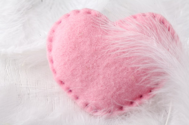 Soft heart on white background
