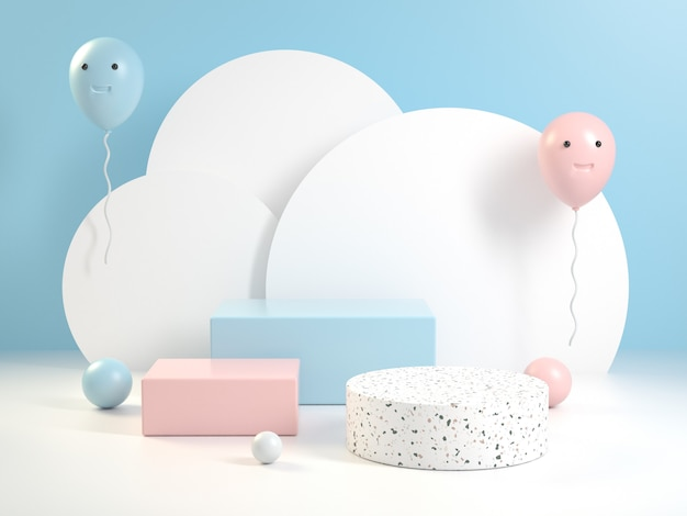Платформа набор soft kid цвет празднование с clound background 3d визуализации