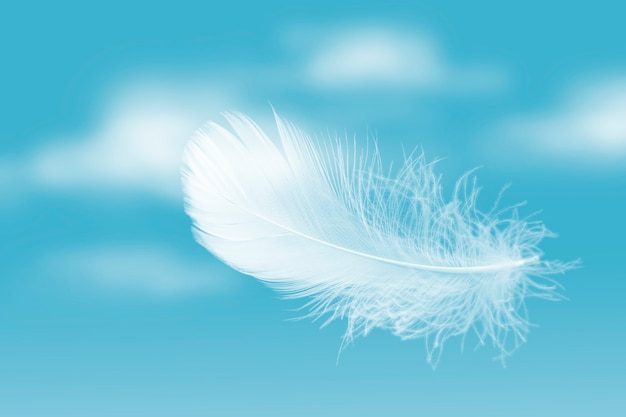 Мягкое легкое белое перо, парящее в голубом небе с облаками абстрактное перо, летящее в небесах