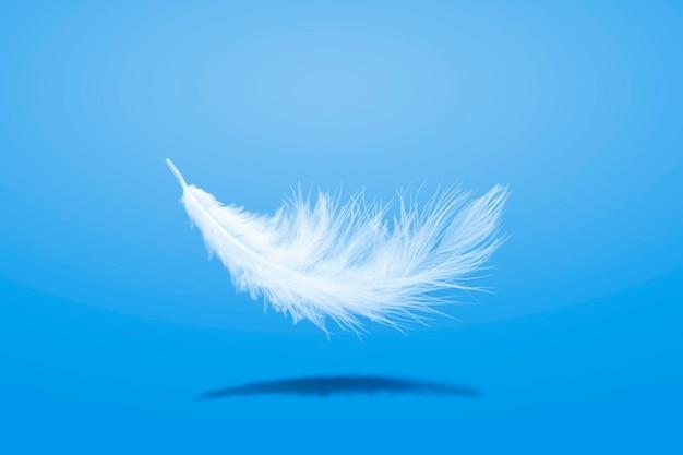 Мягкое легкое падение белого пера в воздухе