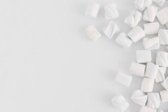 Soft marshmallows on light table