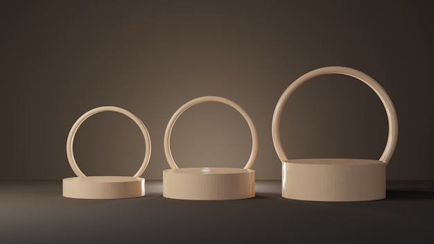 暗い部屋に円形の柔らかいパステルの円筒形の表彰台