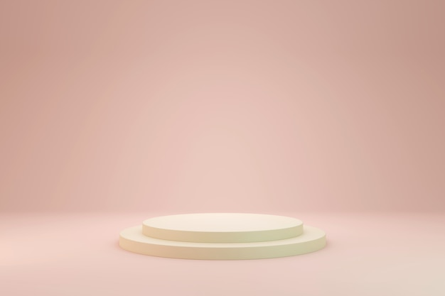 Soft pastel pink product stage present background 3d rendering.