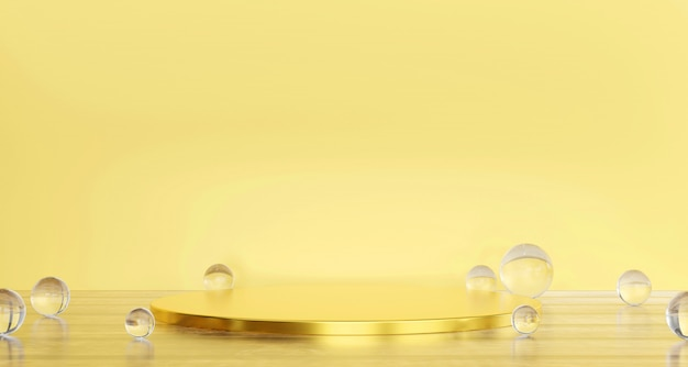 Soft pastel yellow and gold stage product with glass ball present background 3d rendering.
