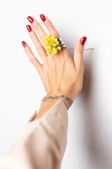 Мягкое фото женщины руки красный маникюр, кольцо на пальце, держать милый желтый маленький сухой цветок, белый.
