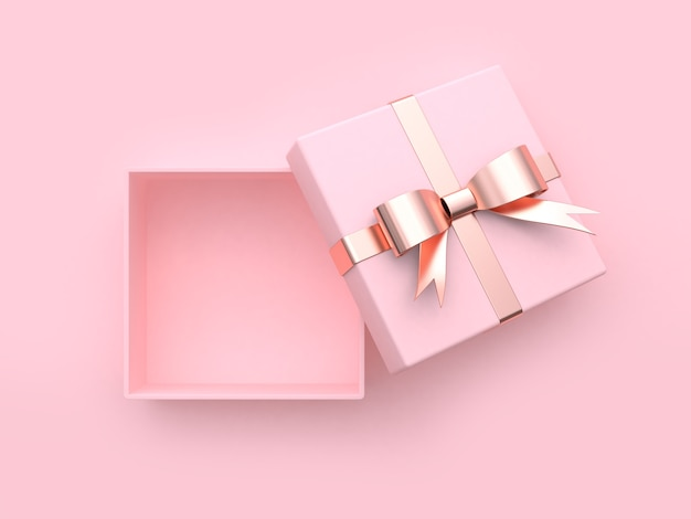 Soft pink gift box open metallic gold-rose gold ribbon