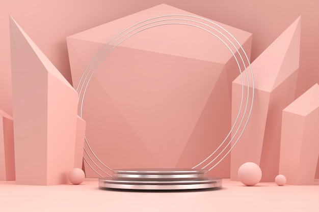 Soft pink and marble product stage platform present background 3d rendering.