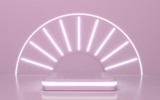 輝く線の背景を持つ柔らかいピンクの表彰台