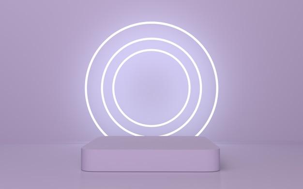 輝くラインサークルの背景を持つソフトピンクの表彰台