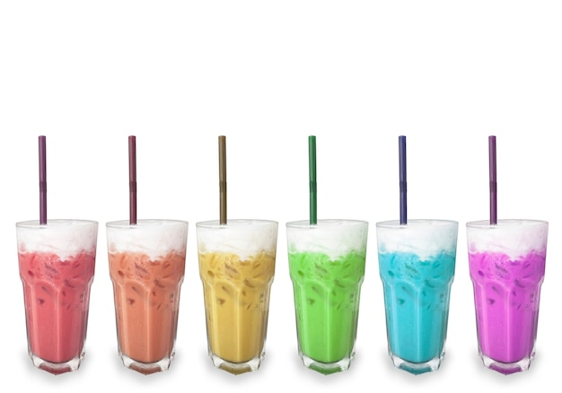 Soft rainbow color drink beverage in glass row on whtie background.