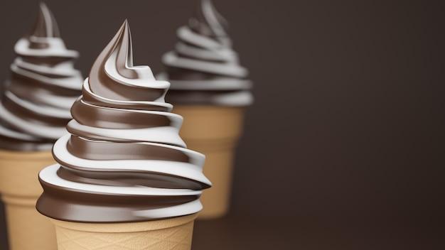 Soft serve ice cream of chocolate and milk flavours on crispy cone