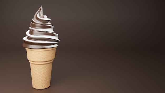 サクサクのコーンにチョコレートとミルクの風味のソフトクリーム