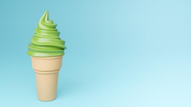 サクサクのコーンに抹茶風味のソフトクリーム