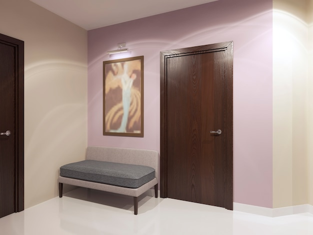 Soft sofa in modern colored hall.