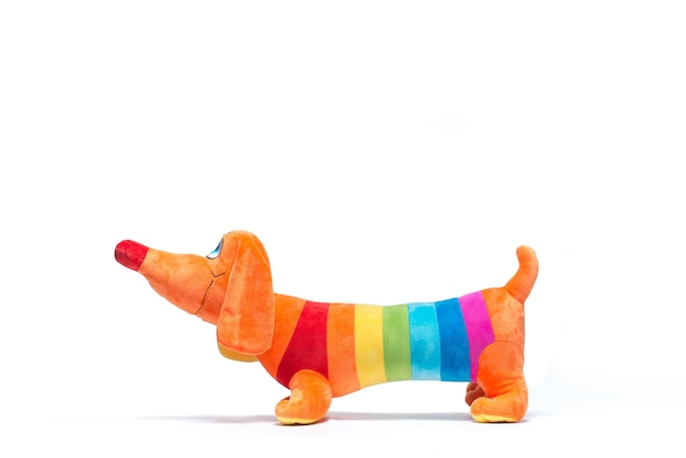 Soft toy dog with lgbt flag