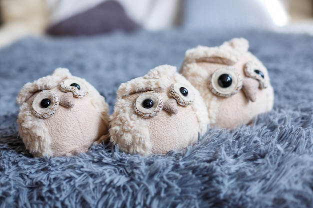 Soft toy owls as decor beautiful card