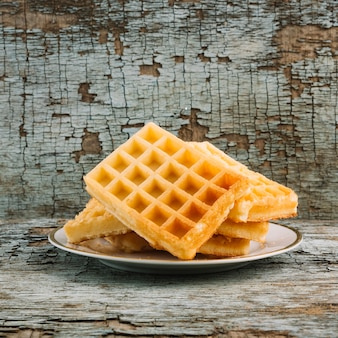 Soft waffles on plate