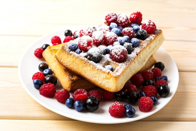 Soft waffles with blueberry and raspberry