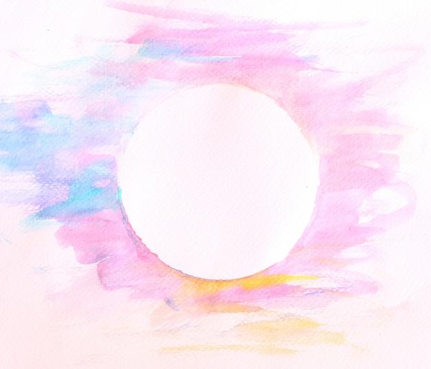 Мягкая акварель фон краска кистью с кругом пространства в середине