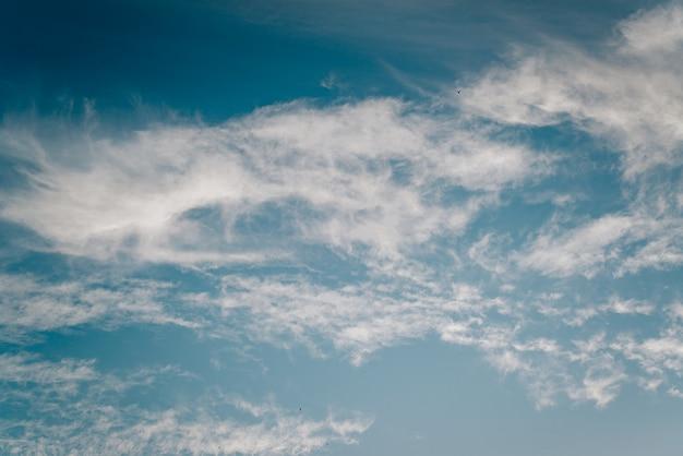 下から見た青い空を背景にした柔らかな白い雲。風の強い空の風景