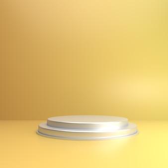 製品のショーケースのステージと柔らかい黄色の3d背景
