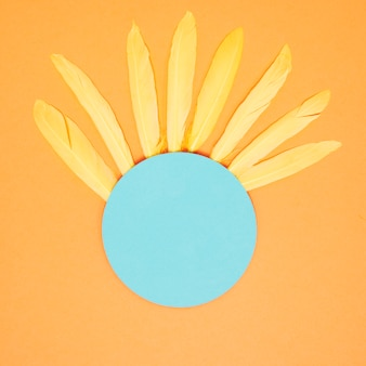 Soft yellow feathers on the blue circle blank frame against an orange background