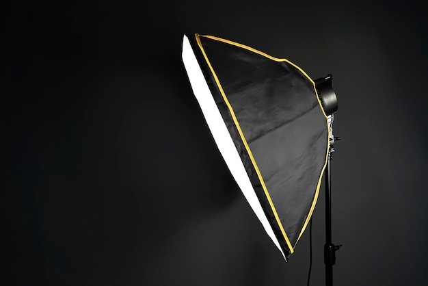 Softbox in a photo studio on black