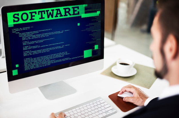 Software application programming developer technology concept