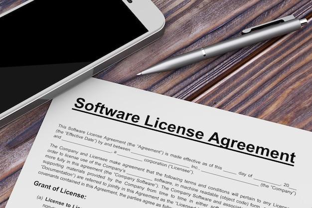 나무 테이블에 휴대 전화와 펜 소프트웨어 사용권 계약. 3d 렌더링