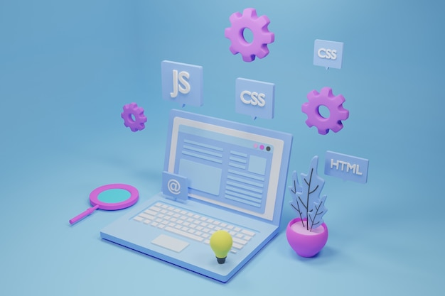 Software and web development 3d illustration