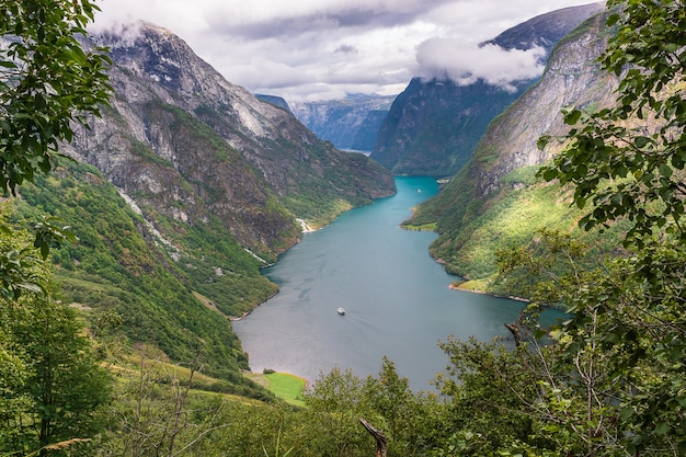 Sognefjord、ノルウェーの航空写真。