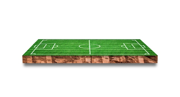 Soil cross section with grass soccer field isolated. 3d rendering.