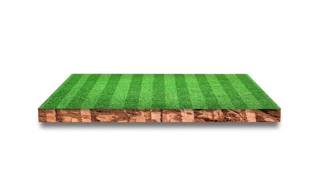 Soil cross section with grass soccer field isolated on white