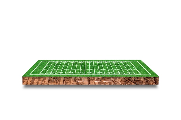 Soil cubic cross section with american football field isolated. 3d rendering.