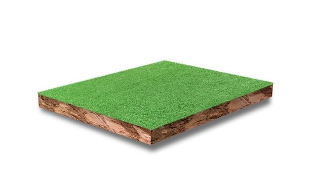 白い背景で隔離の緑の芝生のフィールドと土壌立方体断面。
