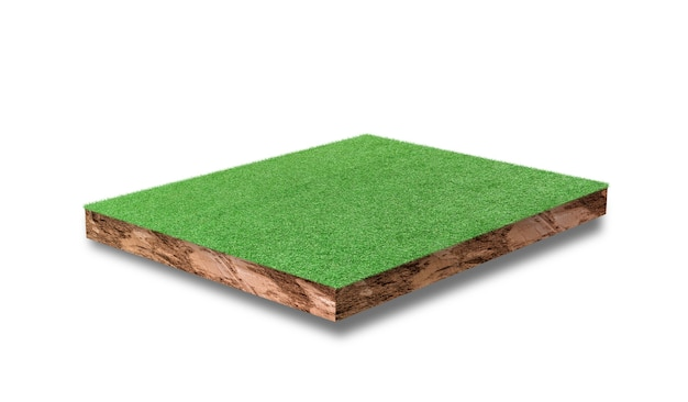 Soil cubic cross section with green grass field isolated on white background.