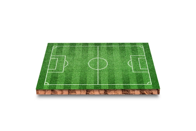 Soil cubic cross section with green grass football field isolated on white Premium Photo